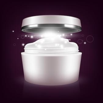 Modèle d'emballage vierge de masque crème. illustration sur fond sombre. concept graphique pour votre conception