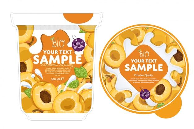 Modèle d'emballage de yaourt d'abricot.