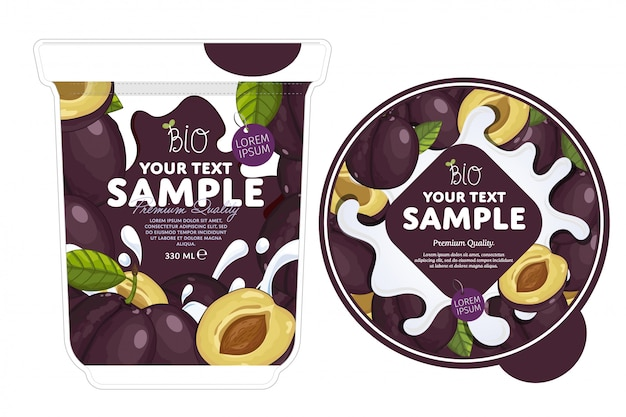 Modèle d'emballage de yaourt aux prunes.