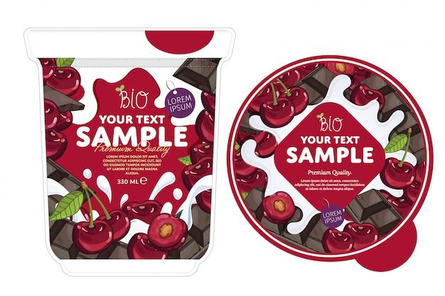 Modèle d'emballage de yaourt chocolat cerise.