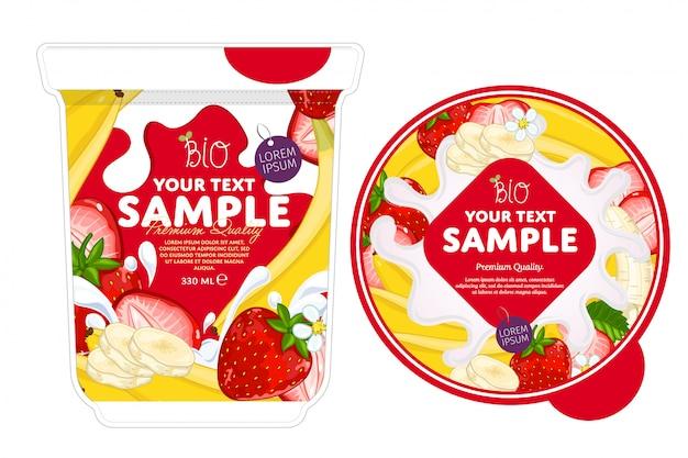 Modèle d'emballage de yaourt à la fraise banane