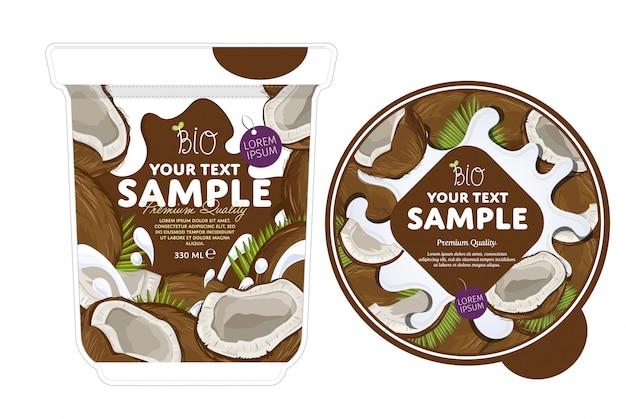 Modèle d'emballage de yaourt à la noix de coco.