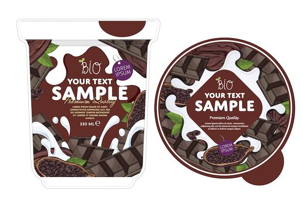 Modèle d'emballage de yogourt au chocolat.