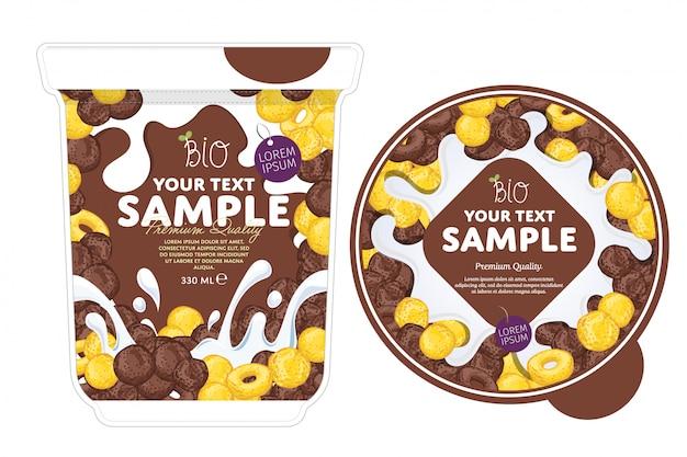 Modèle d'emballage de yogourt cornflakes.