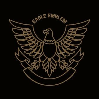 Modèle d'emblème avec aigle dans un style doré