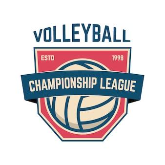 Modèle d'emblème avec ballon de volley-ball. élément de design pour logo, étiquette, signe.