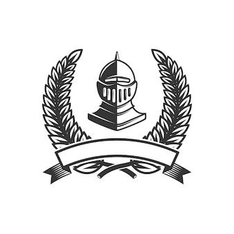 Modèle d'emblème avec casque de chevalier médiéval. élément pour logo, étiquette, signe. illustration