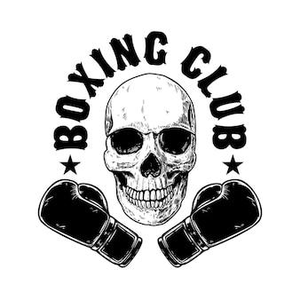 Modèle d'emblème de club de boxe. crâne humain avec des gants de boxe. élément de design pour affiche, carte, bannière, signe, emblème, étiquette. illustration vectorielle