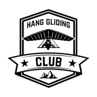 Modèle d'emblème de club de deltaplane. élément pour logo, étiquette, emblème, signe. illustration