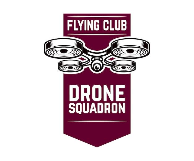 Modèle d'emblème avec drone volant. élément pour logo, étiquette,. illustration