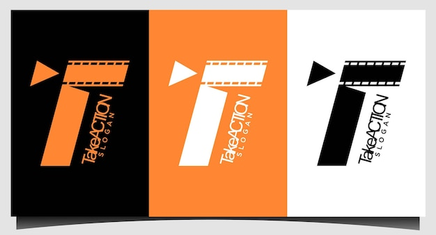 Modèle d'emblème de film de logo de cinéma
