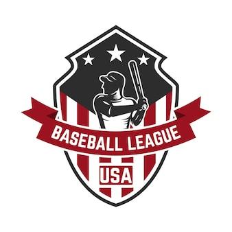 Modèle d'emblème avec joueur de baseball. élément pour logo, étiquette, emblème, signe. illustration