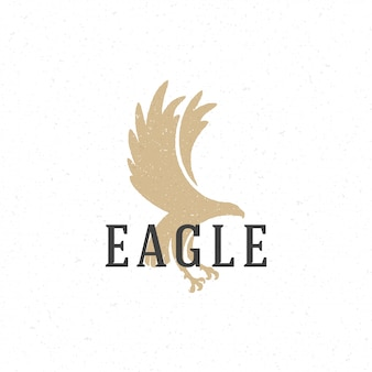 Modèle d'emblème de logo dessiné main aigle volant