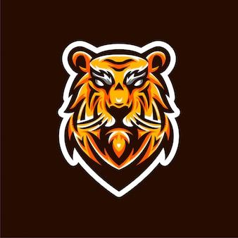 Modèle d'emblème de logo tiger esports
