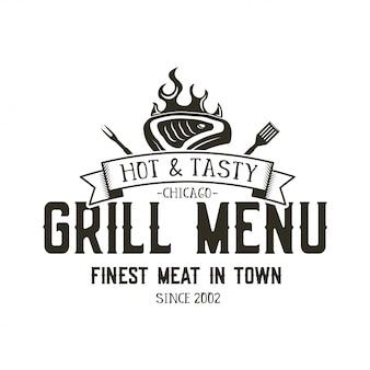 Modèle d'emblème de menu grill