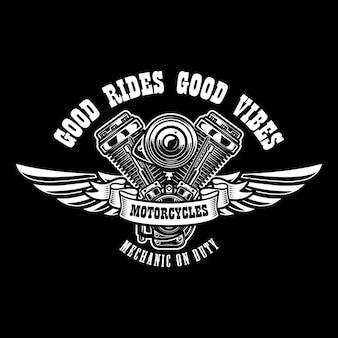 Modèle d'emblème avec moteur de moto ailé. élément de design pour affiche, logo, étiquette, signe, t-shirt.