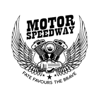 Modèle d'emblème avec moteur de moto ailé.