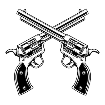 Modèle d'emblème avec des revolvers croisés. élément pour logo, étiquette, emblème, signe. illustration
