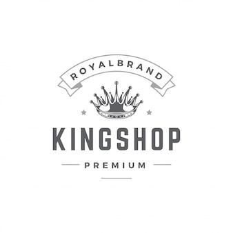 Modèle d'emblème roi couronne avec la typographie.