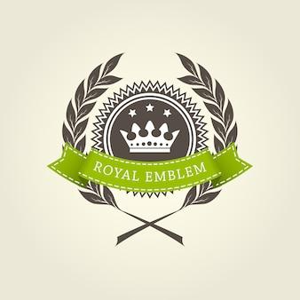 Modèle d'emblème royal avec couronne de laurier