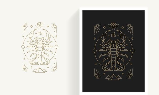 Modèle d'emblème de scorpion du zodiaque astrologie linéaire élégant décoratif créatif pour logo