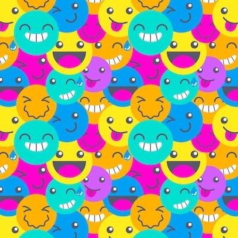 Modèle d'émoticônes de sourire différent coloré