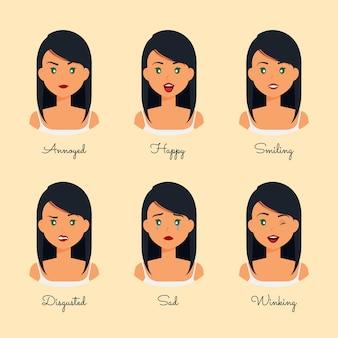 Modèle d'émotions de dessin animé d'expression différente