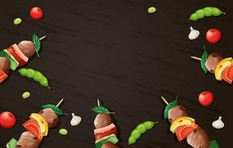Modèle en bois de barbecue délicieux Kebab