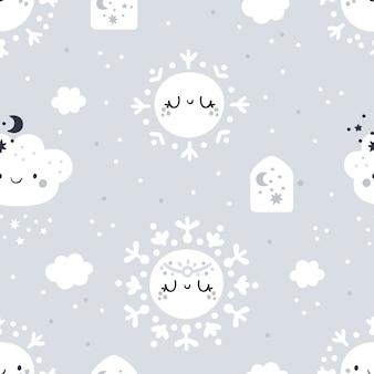 Modèle enfantin sans couture avec des flocons de neige de dessin animé mignon, pastel de nuages.