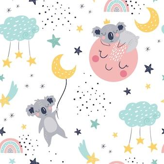 Modèle enfantin sans couture avec koalas endormis, nuages, comètes, lune et étoiles.