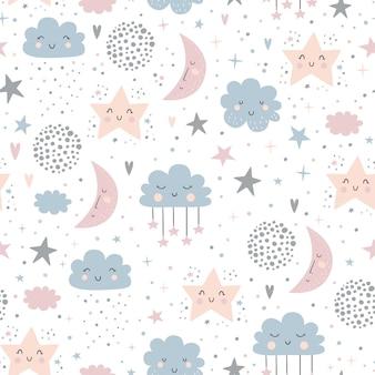 Modèle enfantin sans couture avec mignonnes lunes, nuages et ciel étoilé.