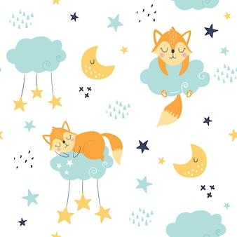 Modèle enfantin sans couture avec renards endormis, nuages, lune et étoiles.