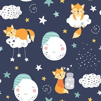 Modèle enfantin sans couture avec renards endormis, nuages, lune, pot avec étoiles et constellations.
