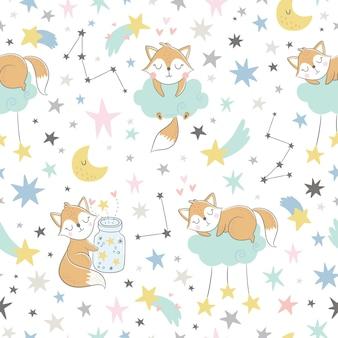 Modèle enfantin sans couture avec renards endormis, nuages, pot avec étoiles et constellations.