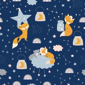 Modèle enfantin sans couture avec renards endormis, ours, nuages, arc-en-ciel, pot avec étoiles et constellations.