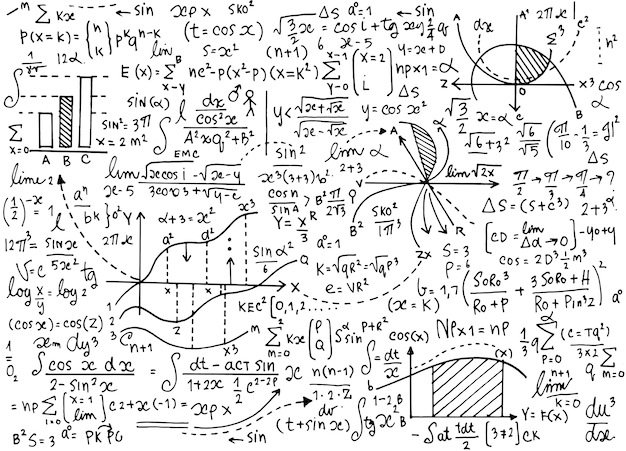 Modèle d'enseignement de mathématiques avec des formules manuscrites