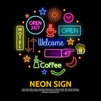 Modèle d'enseignes au néon brillant