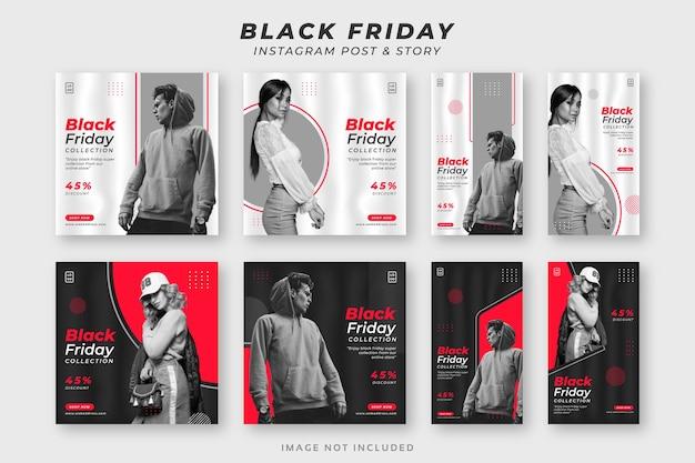 Modèle d'ensemble de publication et d'histoire sur les médias sociaux black friday