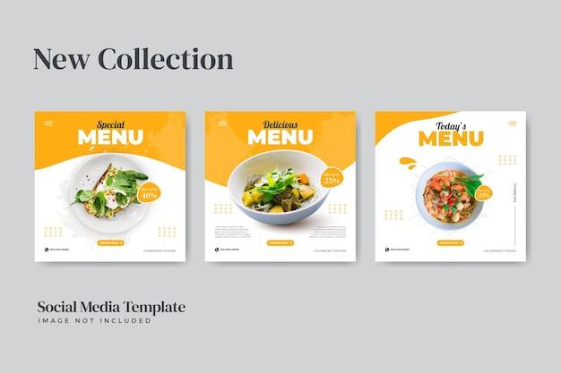 Modèle d'ensemble de publication instagram de restaurant de cuisine délicieuse