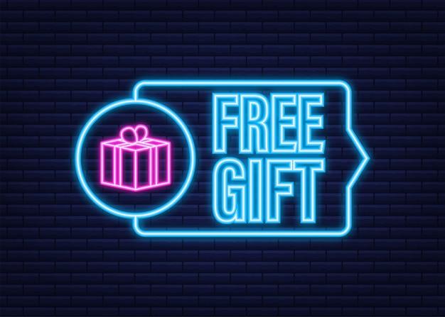 Modèle d'entreprise avec cadeau gratuit rouge sur fond blanc pour la conception de bannières. modèle d'affaires de vecteur. icône néon. présenter l'icône de boîte-cadeau.