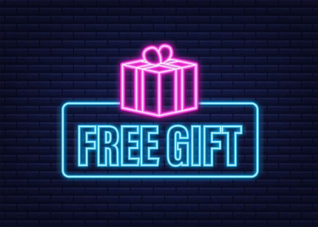 Modèle d'entreprise avec cadeau gratuit rouge pour la conception de bannières. icône néon. modèle d'affaires de vecteur. présenter l'icône de boîte-cadeau.