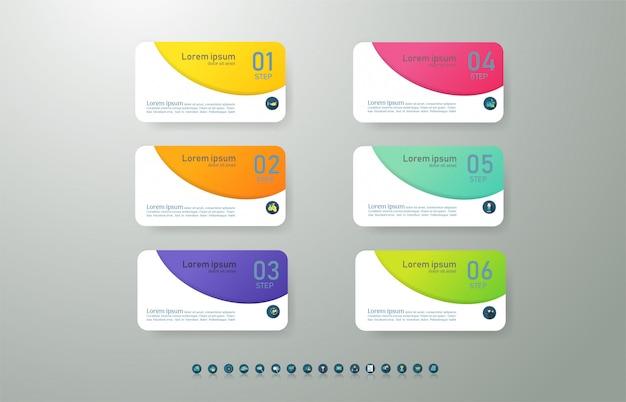Modèle d'entreprise de conception 6 options infographiques pour les présentations.