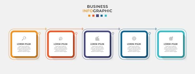 Modèle d'entreprise de conception d'infographie avec des icônes et 5 cinq options ou étapes