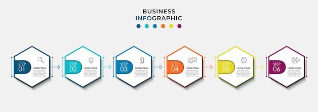 Modèle d'entreprise de conception d'infographie vectorielle avec des icônes et 6 options ou étapes