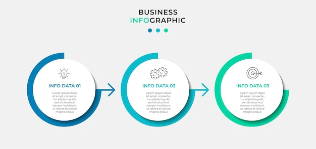 Modèle d'entreprise de conception infographique avec icônes et 3 options ou étapes