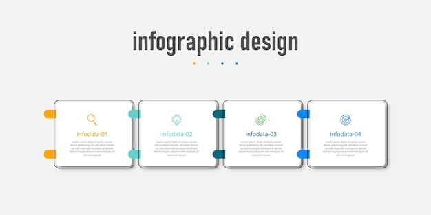 Modèle d'entreprise de conception infographique moderne et flux de travail de numéro d'option en quatre étapes