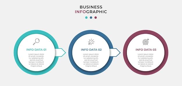 Modèle d'entreprise de conception vectoinfographic avec des icônes et 3 options ou étapes