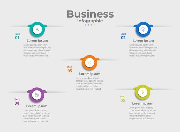 Modèle d'entreprise d'étapes graphiques d'informations de stratégie