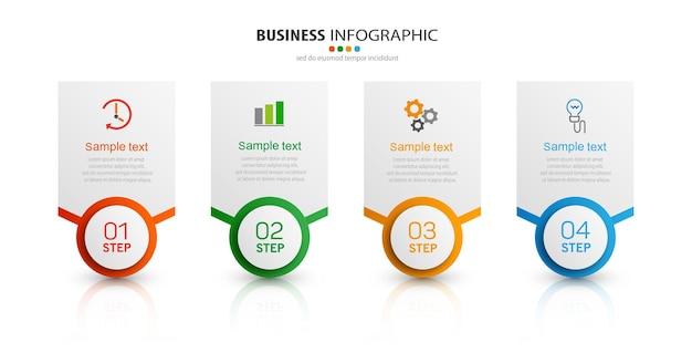 Modèle d'entreprise infographique en 4 étapes
