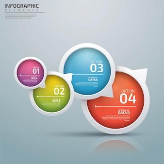 Modèle d'entreprise infographique avec 4 options créatives dans le style de bulle de dialogue